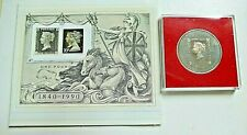 ROYAL MAIL~1840-1990 ~ 150TH ANNIVERSARY OF PENNY BLACK STAMP MEDALLION + STAMPS