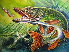 Watercolor Painting River Fish Pike Lure Bait Fishing 5x7