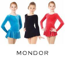 MONDOR® Long Sleeve VELVET Figure Skating Examination Dress Many Colors & Sizes