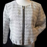 Express Womens Tweed Bomber Jacket Size Large White Black NWT