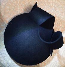 Navy Blue Wool Felt Button Hat With Twirl Fascinator Wedding Hat Races Preorder