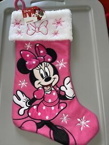"""Disney Minnie Mouse Pink Fabric Stocking - 20"""" HH"""