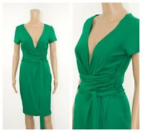 ex Phase Eight Emerald Green Jersey Stretchy Faux Wrap Belted Versatile Dress