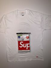 Supreme SS19 Hanes Large Tagless Box Logo Tee White (1 T-Shirt Only)