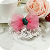 Baby Girls Kids Fairy Lace Sweet Dance Bow Ribbon Pink Hair Clip Pin barrett