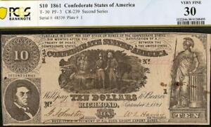1861 $10 DOLLAR CONFEDERATE STATES CURRENCY CIVIL WAR NOTE MONEY T-30 PCGS 30
