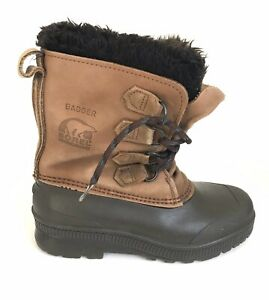 """SOREL """"Badger"""" Womens Size 8 Winter, Snow Boots, Leather, Rubber, Made in Canada"""