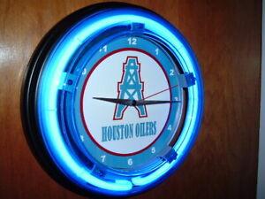 ** Houston Oilers Football Throwback Bar Man Cave Neon Clock Sign