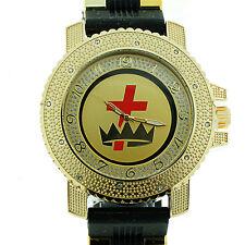 Masonic Knights of Templar Watch Cross & Crown Black w/ Silicone Band York Rite