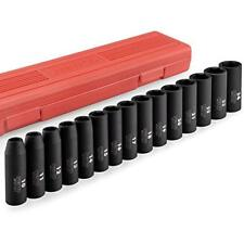 Neiko 02474A 1/2 Drive Deep Impact Socket Set, Cr-V Steel, 6-Point 15-Piece 10