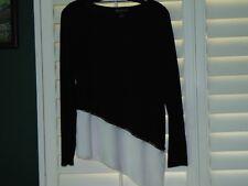 Women's Black & White Long Sleeve Asymmetrical Hemline Pull Over Top M by I.N.C