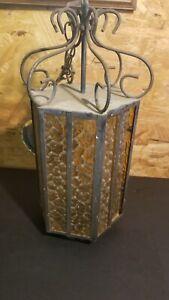 Vtg Iron Spanish Colonial Medieval Gothic Light Amber Glass nees rewiring