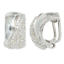 Silberohrclips Ohrclips 925 Sterling Silber rhodiniert gehämmert Ohrringe Clips.