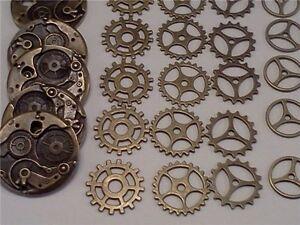 25pcs Mix Retro Bronze Alloy Gear Charm Steampunk Cog Pendant Dangle Jewelry DIY