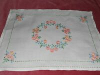 """Vintage white linen 17"""" x 13"""" TABLECLOTH/TRAY hand embroidered with flowers"""