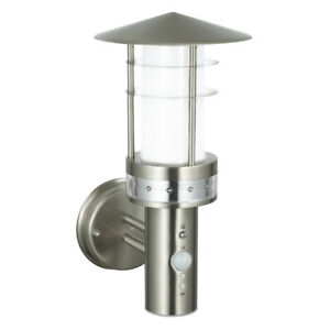 SAXBY Pagoda LED Outdoor Garden PIR Sensor Wall Light Stainless Steel IP44 13924