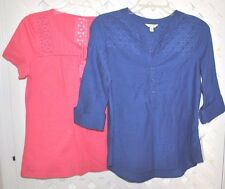 SONOMA LIFESTYLE 2 pc. BLUE & CORAL TOPS SHIRTS Size PXS nwt EYELET TRIM