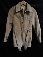 Women's Montreal Leather Garment Tan Leather/Suede Button Down Coat; Tie Belt; 9