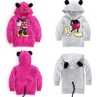 Toddler Kids Baby Girl Boys Mickey Minnie Hooded Sweatshirt Coat Jacket Outwear