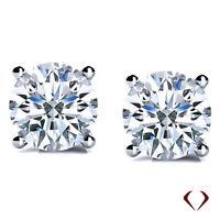 AGI 1.40CTW D SI2 Round Cut Diamond Stud Earrings 14K White Gold