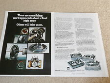 Dual 1229, 1218, 1216, 1214 Turntable Ad, 1973, 2 pg, Article, Info, Nice Ad!