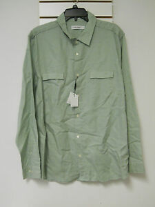 Calvin Klein New Mens Dressy Refined Rolled Sage Shirt XL NWT Light Green
