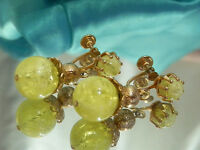 Showy Vintage 1950 Yellow Lucite Dangle Earrings  811jl