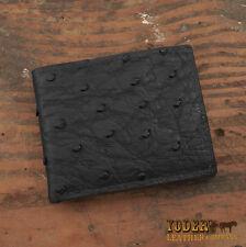 Black Ostrich Bifold Wallet - Genuine Ostrich Skin Amish Handmade Cash Billfold