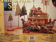 Collectible Handcrafted LARGE Wooden Noah's Ark Figurine Set W/ Resin Animals