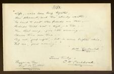CHARLES W COULDOCK US actor 1888 handwritten poem Barbauld's Life. Buzzards Bay