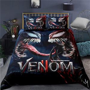 Venom Black Single Double King Super King Duvet Quilt Cover Set Pillowcase