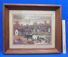 Robert Lebron Print Fishing Village Wood Framed Cottage Lighthouse Vintage