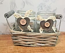 2 Glass Traditional Jars with Slate Charms in Wicket Basket Decoration 8WK197