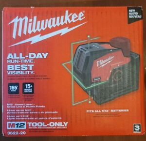 Milwaukee 3622-20 M12 Green Laser Level 125 ft Cross Line Plumb Points 12 Volt