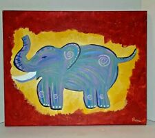 Original Acrylic Painting On Stretched Canvas Elephant Signed By Artist Remie
