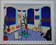 FANCH LEDAN (INTERIOR WITH PRIMITIVE ART)  SIGNED SERIGRAPH-BEAUTIFUL!