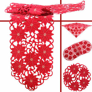 Christmas star Poinsettia Winter Embroidery Tablecloth Runner Doily Red