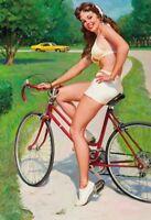 Bicicleta Pin Up Girl Letrero de Metal Arqueado Tin Sign 20 X 30cm FA0079