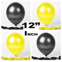 "12""Inch Yellow Black Latex Balloons helium air quality birthday wedding ceremony"