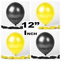 "12""Inch Yellow Black Latex Balloons helium air quality birthday wedding ceremony"