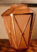 VINTAGE French Deco Peach Pink Glass Lantern Ceiling Light Shade Lamp Gold Retro