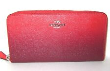 Coach Ombre Accordion Zip Around Wallet Watermelon & Oxblood Red F22808 NWT$275