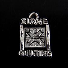 "25Pcs Zinc Alloy Antique Silver ""I love Quilting"" Charms Pendants 21mm"