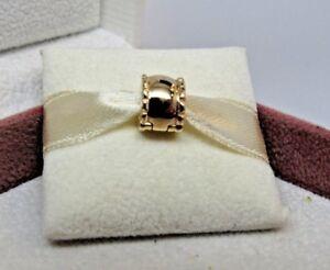 New w/Box Pandora 14 Kt Gold Beveled Charm Clip 750256 RETIRED 585