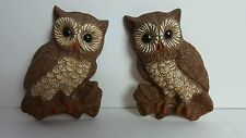 Set Of 2 Cool Vintage Balsa Wall Hanging Owl Plaques Wildlife Bird Couple Brown