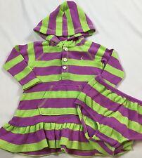 Ralph Lauren Size 9 Months Green Purple Striped Drop Waist Dress & Diaper Cover