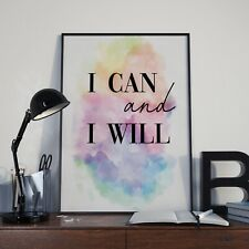 I Can And I Will Rainbow Watercolour Wall Décor Sign Poster Print Free Postage