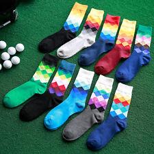 2 Pairs Men Cotton Socks Geometric Pattern Lot Diamond Casual Dress Socks random