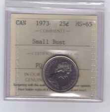 "**1973** Canadian 25 Cents ""Small Bust"" - ICCS MS-65 **NO SALES TAX**"