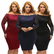 Plus Size Dress Long Sleeve Floral Lace Off Shoulder Neckline High Waist Skirt